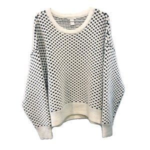 H&M Chunky Knit Black White Pattern Sweater L